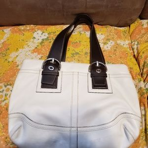 Coach White Brown Leather Bag & Wallet
